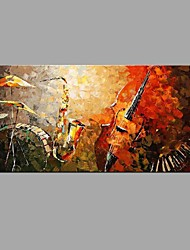 cheap -Hand-Painted Abstract Musical Instruments piano Sax pictures Oil Painting Home Decoration Stretched Frame Ready To Hang