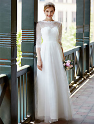 cheap -A-Line Jewel Neck Floor Length Lace Tulle Wedding Dress with Sash / Ribbon Bow by LAN TING BRIDE®