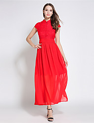 SUOQI Women Dresses Stand collar Short Sleeve Lace Splice Chiffon Dress Red Swing Summer Dress