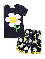 cheap -Girls' Geometric Fashion Clothing Set, 100% Cotton Summer Short Sleeves Floral Royal Blue