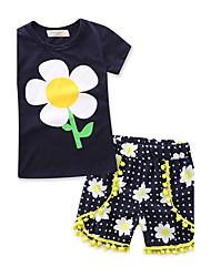abordables -Ensemble de Vêtements Fille Géométrique Mode 100% Coton Eté Manches Courtes Fleur Bleu royal