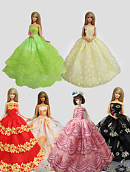 cheap -Party/Evening Dresses For Barbie Doll Multiple Colors Dresses For Girl's Doll Toy Set of 6
