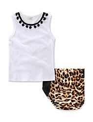 Girls' Fashion Animal Print Sets Cotton Summer Sleeveless Leopard Shorts Clothing Set