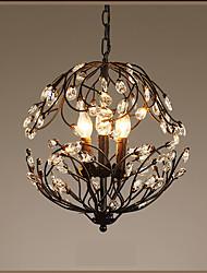 Недорогие -3-Light Подвесные лампы Рассеянное освещение Окрашенные отделки Металл Хрусталь, Свеча Стиль 110 Вольт / 220-240Вольт Теплый белый Лампочки включены
