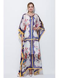 Ample Robe Femme Sortie Décontracté / Quotidien Mignon,Imprimé Col Arrondi Maxi Manches ¾ Soie Printemps Eté Taille Normale Non Elastique