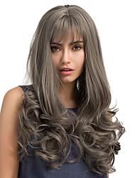 cheap -Hot Sale Frivolity Bangs Grey Long Curly Hair Synthetic Wigs