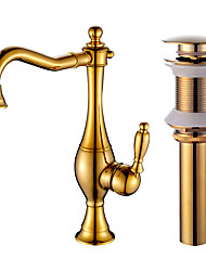 cheap -Centerset Ceramic Valve One Hole Gold, Kitchen faucet