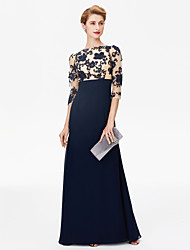 cheap -Sheath / Column Bateau Neck Floor Length Chiffon Floral Lace Mother of the Bride Dress with Lace by LAN TING BRIDE®