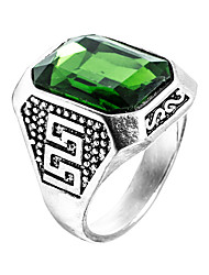 cheap -Men's Ring Synthetic Emerald Unique Design Fashion Euramerican Zircon Emerald Alloy Jewelry Jewelry For Wedding Special Occasion