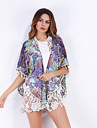 Women's Party/Evening Office/Career Going out Casual/Daily Boho Street chic Summer Fall Blouse,Print V Neck Half Sleeve Polyester Chiffon
