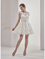 A-Line Jewel Neck Short / Mini Lace Wedding Dress with Beading by MD