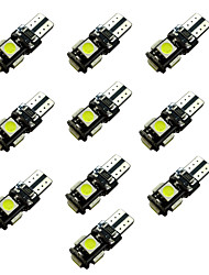 10pcs ba9s T4W/ W5W T10 Blackboard 2W 5 * 5050 SMD LED White Light  Reading Lamp 6500-7000K 12V