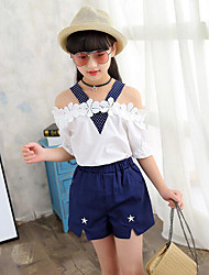 Girls' Polka Dot Patchwork Clothing Set,Cotton Summer Short Sleeve Floral Dot Cartoon White