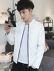 Men's Casual/Daily Simple Spring Leather Jacket,Solid Round Neck Long Sleeve Regular PU