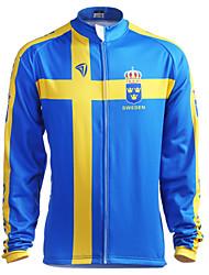 Kooplus Cycling Jacket Men's Long Sleeves Bike Jersey Tops Thermal / Warm Fleece Lining Moisture Permeability Wearable Breathable