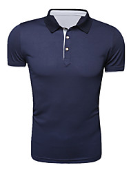 cheap -Men's Weekend Active Cotton Polo - Solid, Modern Style Stand