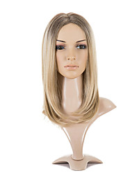 Breasted Europe and the United States wigs long straight hair golden gradient pear head in the split face wig sets 16inch