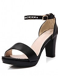 Women's Sandals PU Leatherette Summer Fall Walking Buckle Chunky Heel White Black Blushing Pink 2in-2 3/4in