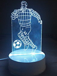 3D Acrylic Athelte Playing Football LED Lamp Desk Night Lights for Kids Room Decorative Lamps Remote Control Stars Ball Lights Lamps for Family