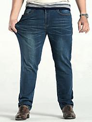 economico -Da uomo A vita medio-alta Casual Media elasticità Dritto Largo Jeans Pantaloni,Tinta unita Cotone Poliestere Elastene Quattro stagioni