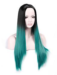 Ženy Dlouhý Zelená Rovné Umělé vlasy Bez krytky Přírodní paruka Paruka Halloween Karnevalová paruka paruky