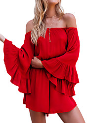 cheap -Women's Flare Sleeve Romper - Solid, Ruffle Off Shoulder