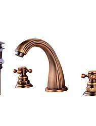 Недорогие -Современный Разбросанная Широко распространенный Медный клапан Две ручки три отверстия Античная медь , Ванная раковина кран