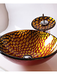 Contemporâneo Redondo material dissipador é Vidro Temperado Pia de Banheiro