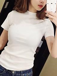 preiswerte -Damen Solide T-shirt Baumwolle