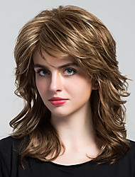 cheap -Human Hair Capless Wigs Human Hair Curly Layered Haircut With Bangs Side Part Medium Machine Made Wig Women's