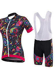 Malciklo Cycling Jersey with Bib Shorts Women's Short Sleeves Bike Clothing Suits Quick Dry Anatomic Design Breathable Sweat-Wicking