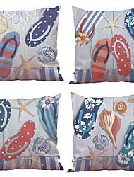 Set of 4  Beach Shell Pattern Rayon Material (100% Polyester) Looks Like Silk Feeling Square Throw Pillow Cases Sofa Cushion Cover (18*18inch)