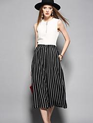cheap -ANGEL Women's Daily Cute Stripe Round Neck Jumpsuits,Wide Leg Sleeveless Spring Summer Silk Flax
