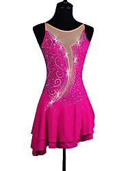 cheap -Figure Skating Dress Women's Ice Skating Dress Fuchsia Rhinestone Sequined High Elasticity Performance Practise Leisure Sports Athleisure