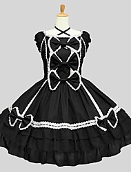 abordables -Lolita Classique/Traditionnelle Rococo Femme Adolescent Fille Robes Cosplay Noir Manches Courtes Mi-long