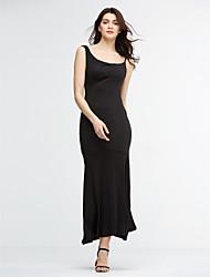 Moulante Robe Aux femmes Soirée Sexy,Couleur Pleine A Bretelles Maxi Sans Manches Rouge / Noir Polyester Eté