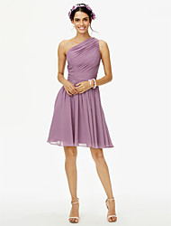 A-Line One Shoulder Knee Length Chiffon Bridesmaid Dress with Bow(s) Sash / Ribbon Side Draping Pleats by LAN TING BRIDE®