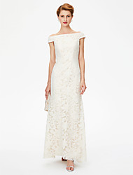 Sheath / Column Off-the-shoulder Floor Length Lace Mother of the Bride Dress with Lace by LAN TING BRIDE®