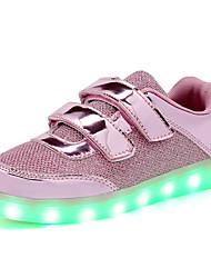 cheap -Kids Sneakers Light Up Shoes Paillette Spring Fall Casual Outdoor Walking LED Flat Heel Gold Blushing Pink Flat