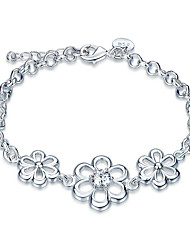 cheap -Women's Girls' Crystal Silver Plated Flower Chain Bracelet - Friendship Fashion Rock Silver Bracelet For Christmas Gifts Wedding Party