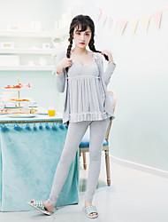 Women's 3Pcs Sleepwear Set Lace Patch V Neck Dress Long Sleeve Sweet Pajamas Set