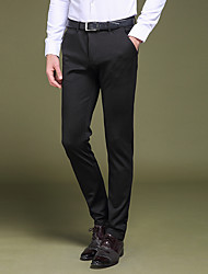 Men's Low Rise Micro-elastic Suit Chinos Pants,Simple Straight Slim Pure Color Solid