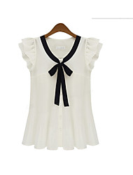 cheap -Women's Daily Going out Work Casual Punk & Gothic Blouse,Color Block Round Neck Sleeveless Polyester