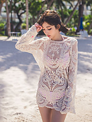 Women's Party Daily Casual Going out Sexy Boho Cute Blouse,Solid Mesh Lace Round Neck Long Sleeve Cotton Mesh
