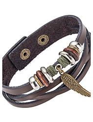 abordables -Homme Bracelets en cuir - Cuir Naturel, Mode Bracelet Marron Pour Occasion spéciale / Cadeau / Sports