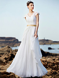 cheap -A-Line V Neck Floor Length Chiffon / Lace Made-To-Measure Wedding Dresses with Sash / Ribbon / Ruffle by LAN TING BRIDE®