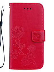 cheap -FOR iPhone 7 Plus 7 Roses 3D Embossed Pattern Hand Rope Style PU Leather Material Phone Case for 6S Plus 6 Plus 6S 6 SE 5S 5