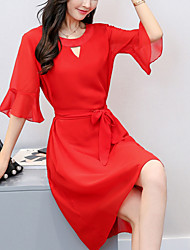 Women's Plus Size Going out Party Street chic Loose Chiffon Dress Solid Asymmetrical 1/2 Length Flare Sleeve Sleeve Polyester Summer