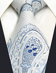 cheap -CXL7 Extra Long Unique Classic Mens Ties White Paisley 100% Silk Business Casual Fashion