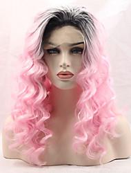 Femme Perruque Lace Front Synthétique Long Ondulé Rose Noir Cheveux Colorés Perruque Naturelle Perruque Déguisement